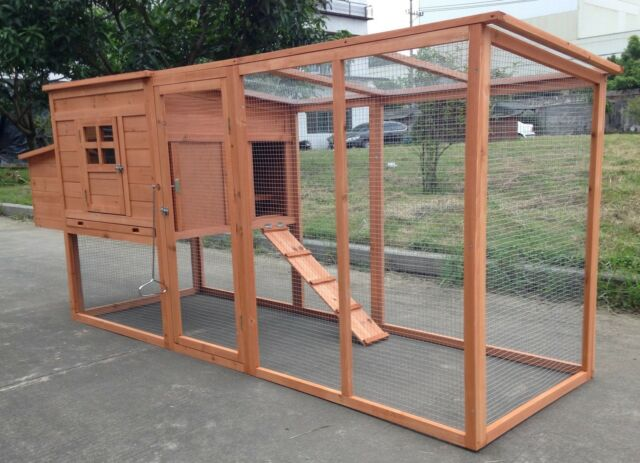 95 wood hen chicken duck poultry run hutch house coop for Chicken and duck coop