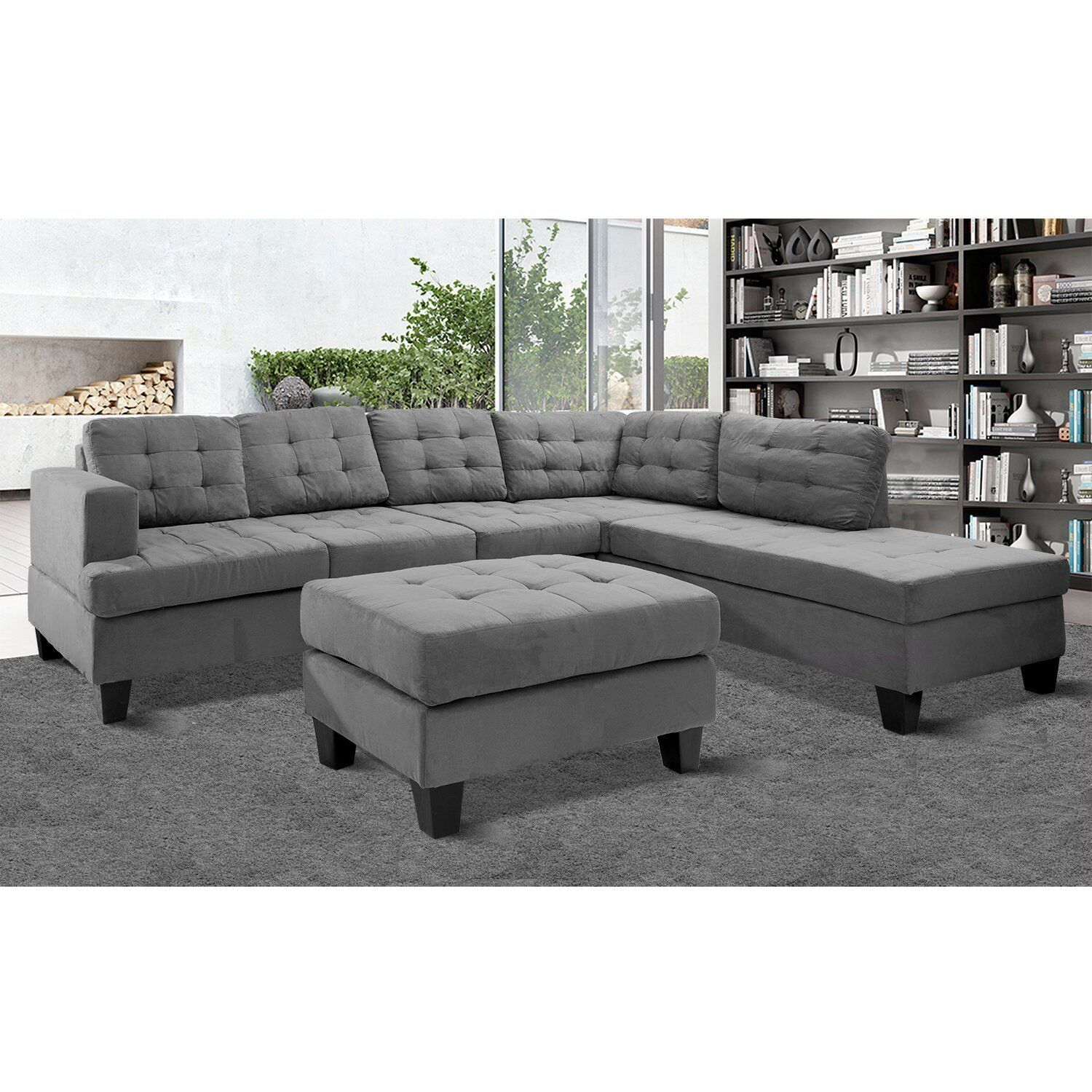 Merax 3 piece Reversible Sectional Sofa With Chaise and Ottoman
