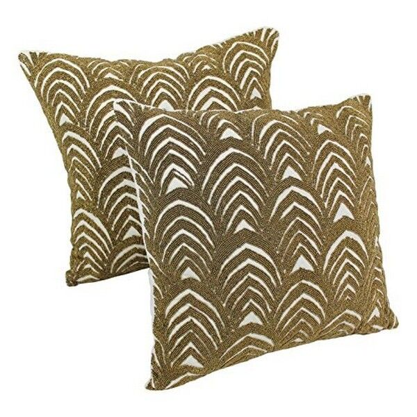 Blazing Needles 20 Inch Arching Fans Throw Pillows Ivory Gold