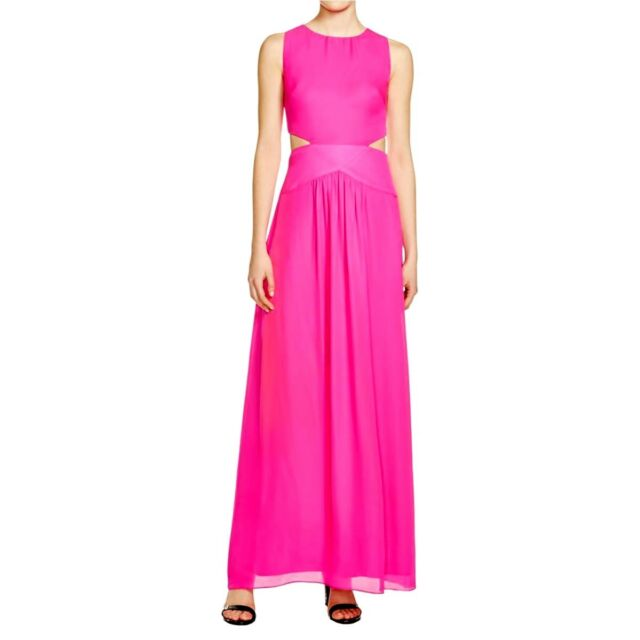 Nicole Miller Womens Pink Cut Out Prom Full Length Formal Dress Size