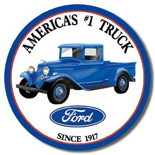 Ford Plaques Trucks Since 1917 Round Retro Vintage Metal Tin Sign ...