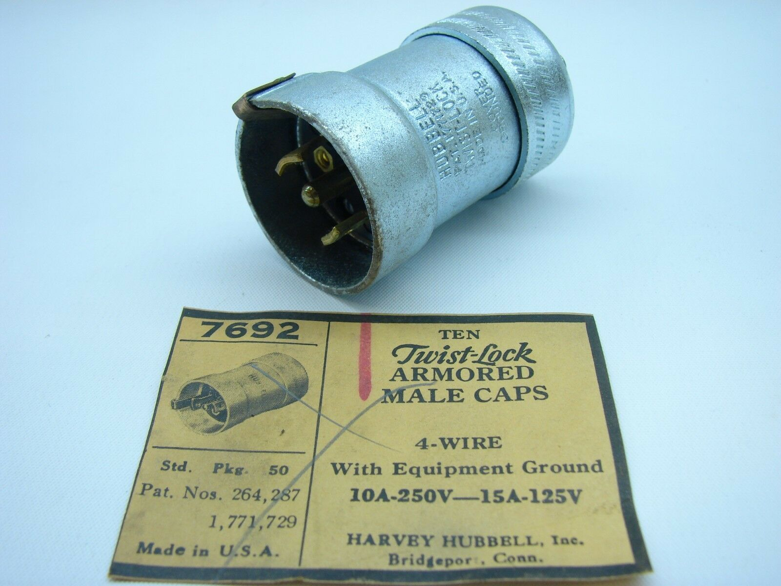 Hubbell 7692 Twist Lock Armored Connector 4 Wire 125/250v 10/15a W ...