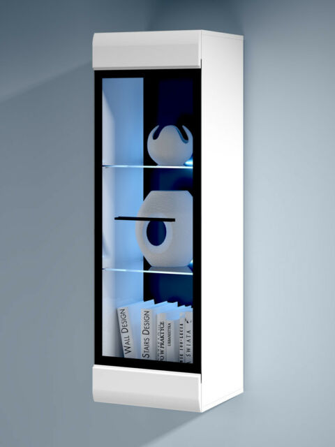 tall living room cabinets. WHITE GLOSS Wall Display Tall Cabinet Glass Door LED Light Black accents  Fever Living Room Cabinets eBay