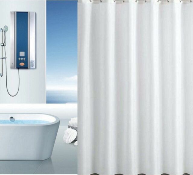 Fully Washable Long Plain Ice White Polyester Shower Curtain W 180 X 220 Cm