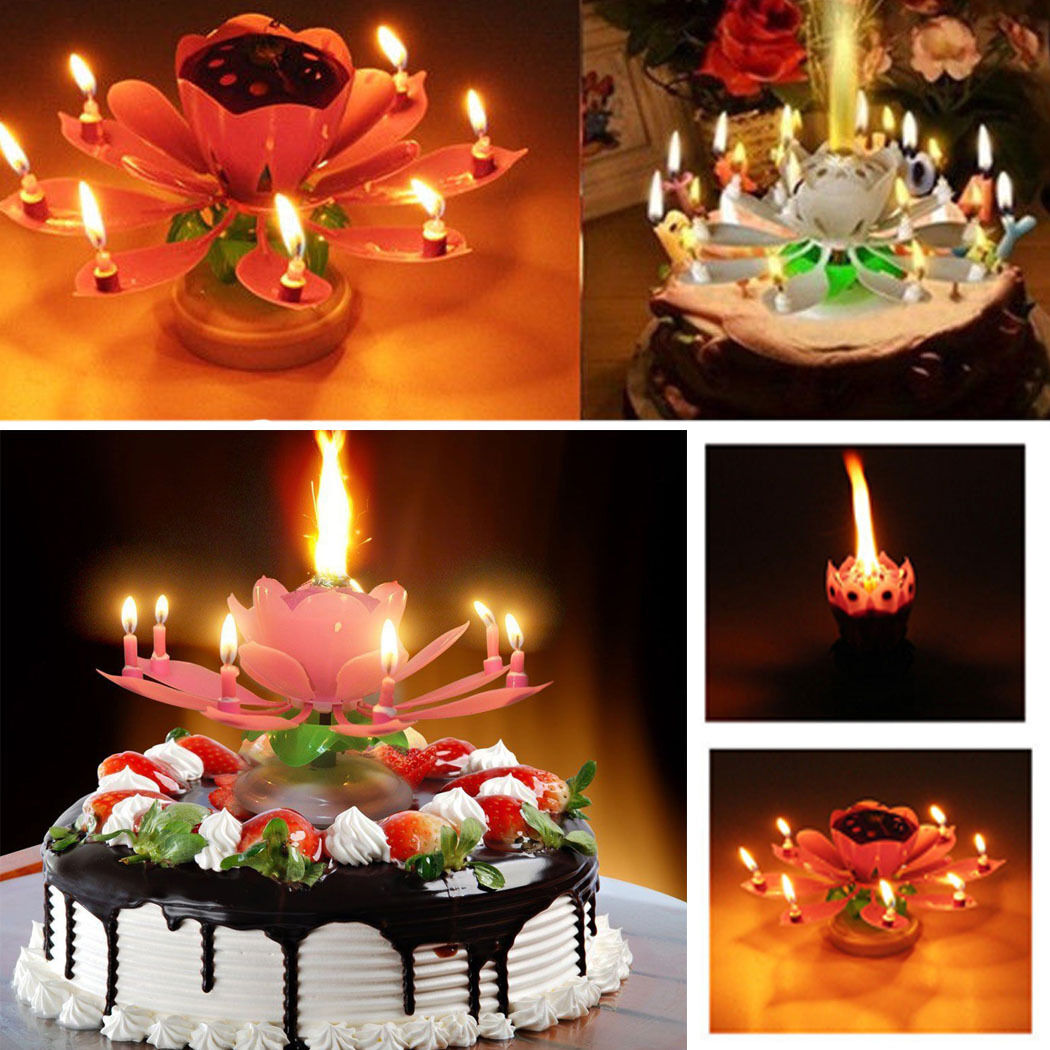 Cake topper birthday lotus flower decoration candle blossom musical picture 1 of 12 izmirmasajfo