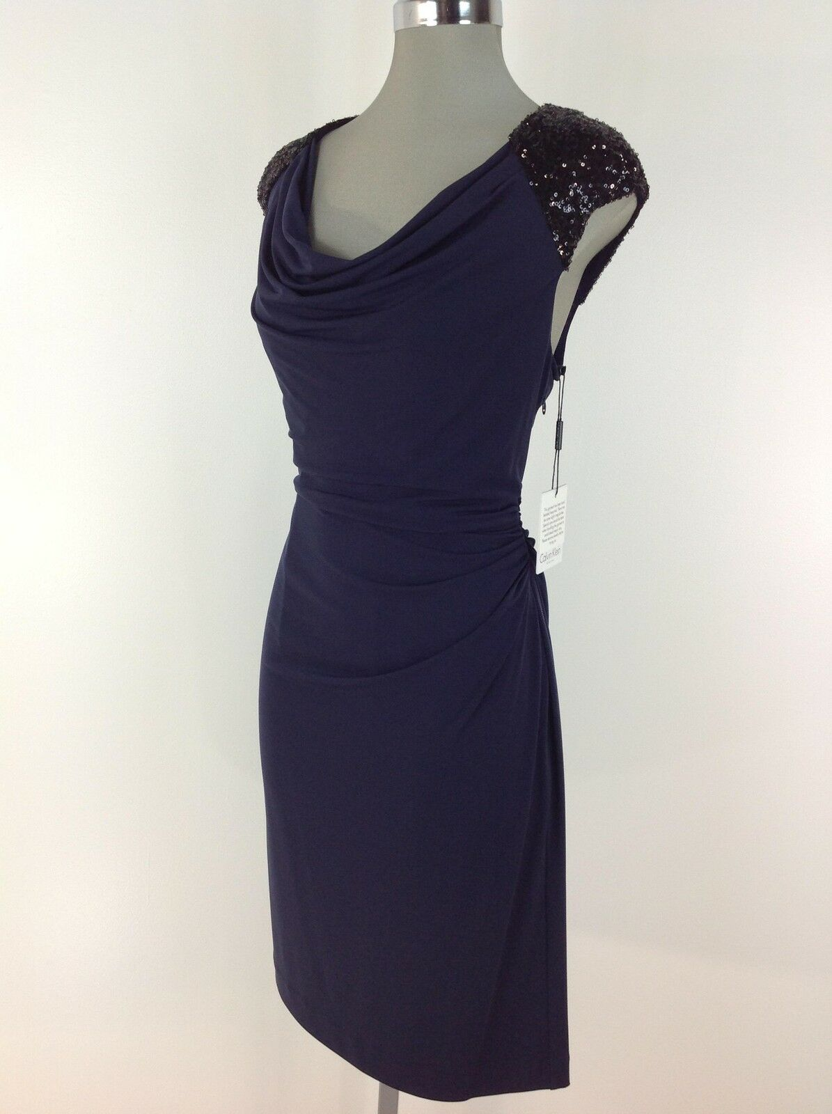Calvin Klein Indigo Cocktail Dress With Black Shoulder Sequined ...
