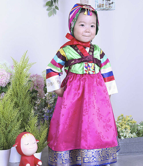 Hanbok Dolbok Korean Traditional Korea Dress Baby Multicolored Stripes 3039