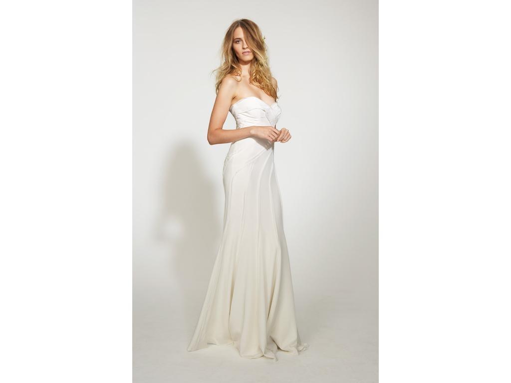 Nicole Miller Silk Daria Strapless Wedding Bridal Gown Dress 10 ...