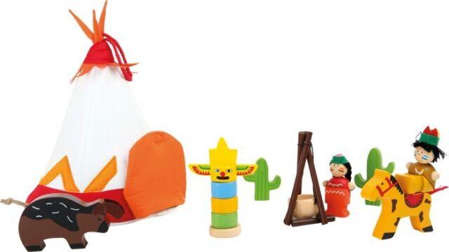 Spielwelt Indianer Set Holzfiguren Figuren aus Holz Zelt Spielfiguren für Kinder