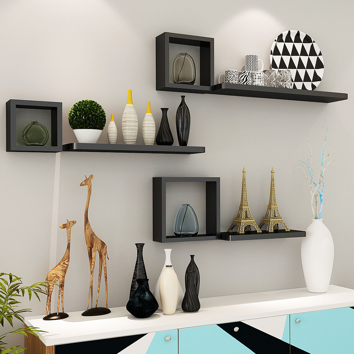 Giantex set of 6 modern floating wall mounted shelves display picture 1 of 8 amipublicfo Images