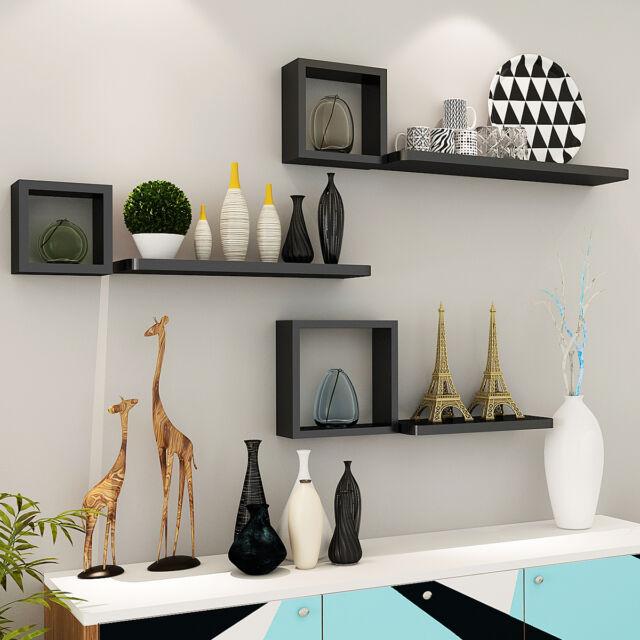 Innovative Wall Shelves: Giantex Set Of 6 Modern Floating Wall Mounted Shelves