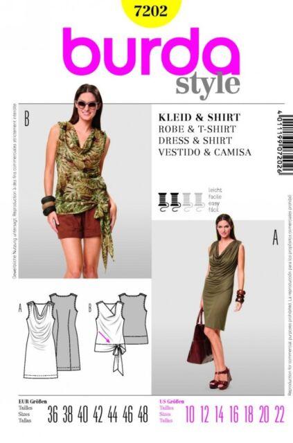 Burda Ladies Easy Sewing Pattern 7202 Cowl Neck Dress & Top With Tie ...