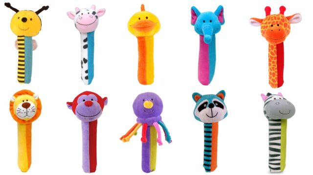 Fiesta Crafts Squeakaboos 10 Colourful Different Designs Soft Baby Rattle Gift