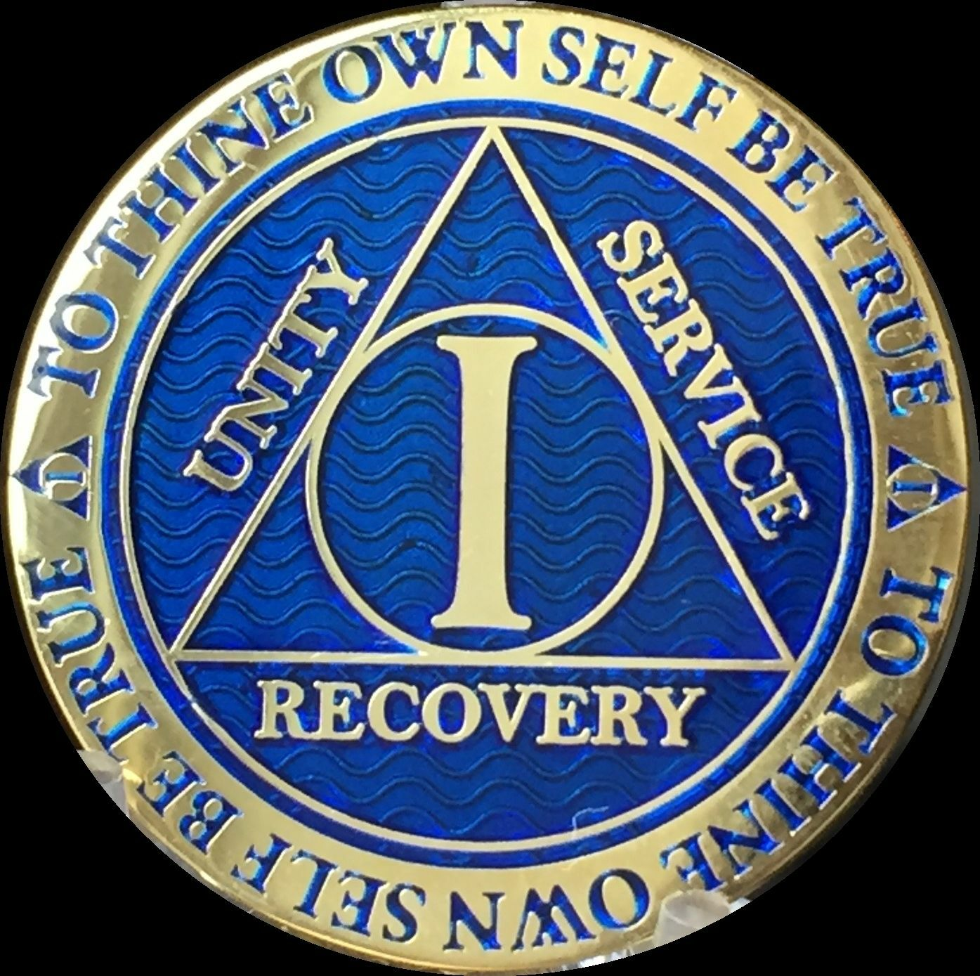 1 Year Aa Medallion Blue Gold Plated Alcoholics Anonymous Sobriety