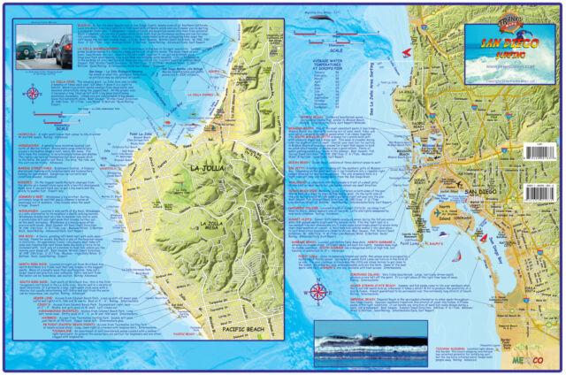 San diego surf map laminated surfing poster franko maps ebay san diego surf map laminated surfing poster franko maps gumiabroncs Choice Image