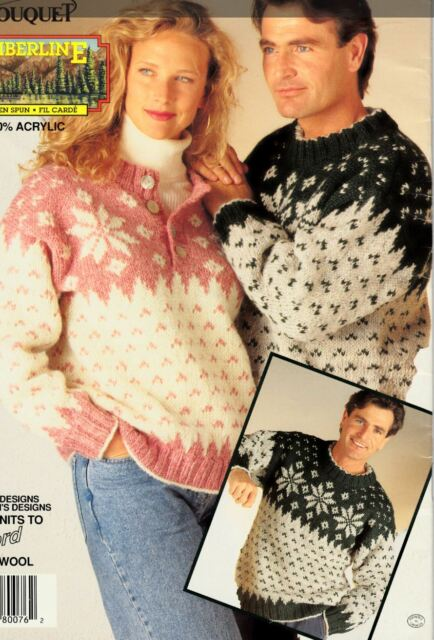 Knitting Pattern Ladies Mens Fairisle Winter Christmas Jumpers