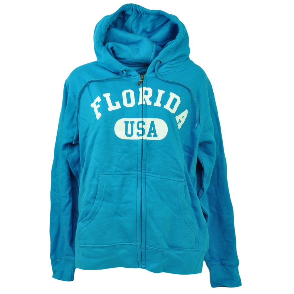 Florida Sunshine State Blue Zip up Sweater Hoodie Womens Ladies ...