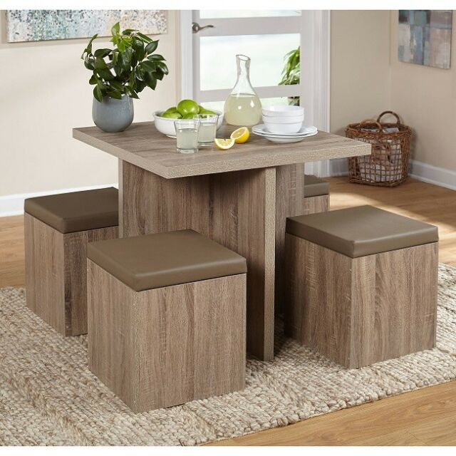 Dining Table 5 PC Small Set Ottoman Storage Kids Seats Apartment ...
