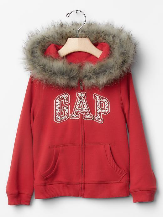 Baby Gap Red Fair Isle Logo Zip Faux Fur Hoodie Sweatshirt Girl 12 ...