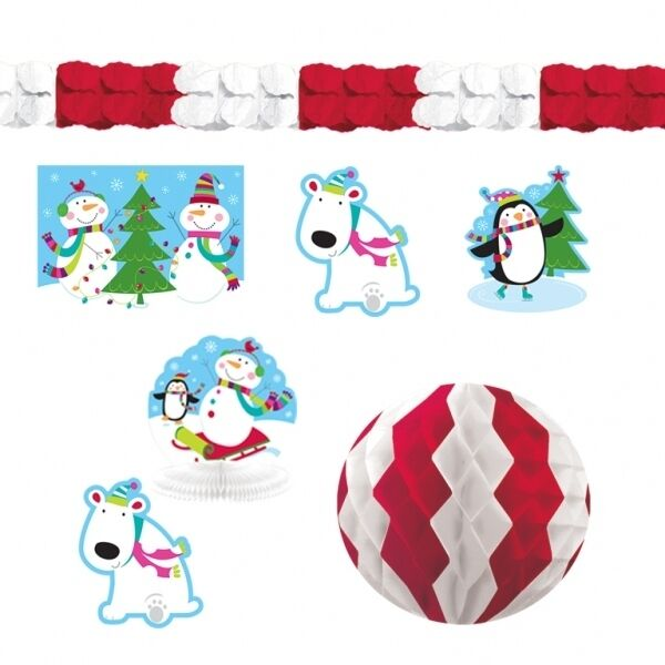 20 Piece Christmas Joyful Snowman Cutout Hanging Wall Decoration Display Kit