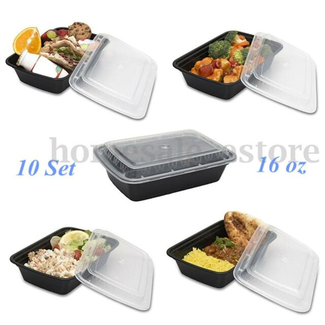 10 Set 16oz Microwavable Food Prep Meal Storage Containers Lids