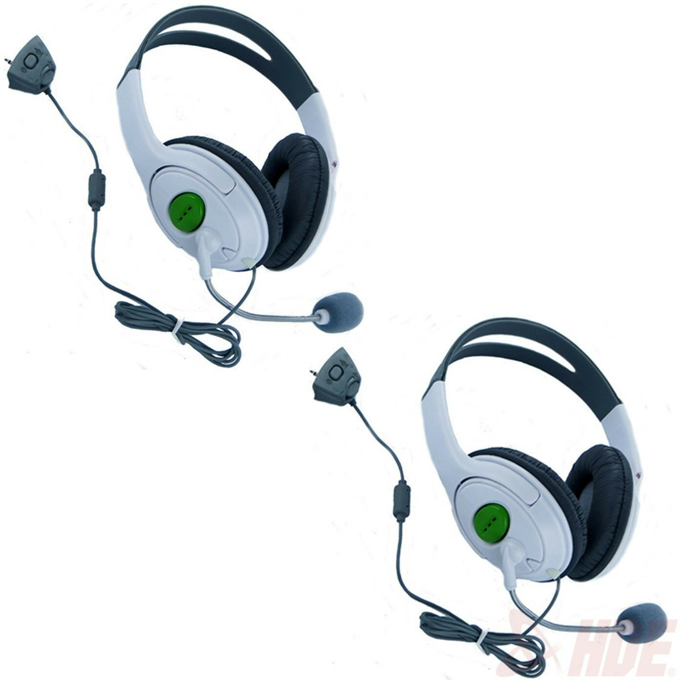 HDE Xbox 360 Headset Headphone Mic 2-pack White Game Chat Live ...