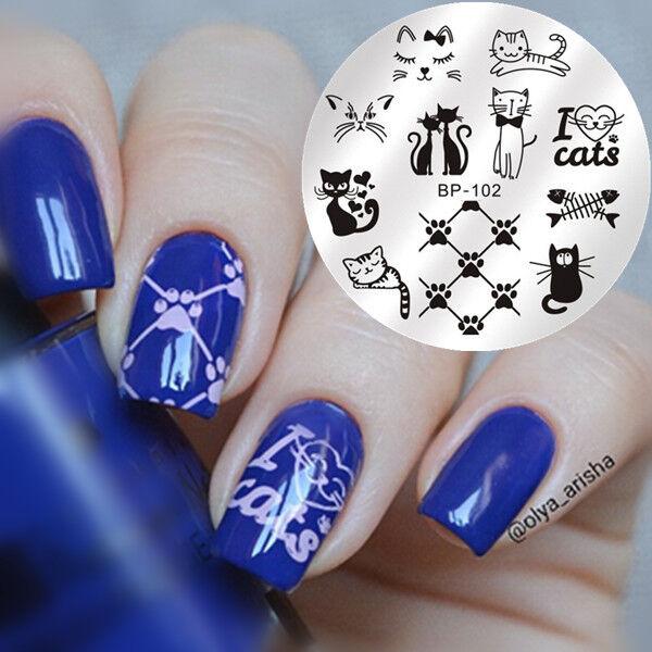 Born Pretty Nail Art Stamping Image Plate Stencil Cute Cats Design ...