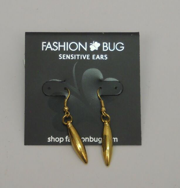 Women Earrings Sensitive Ears Drop Dangle Gold Tones Hook Fasteners Fashion Bug