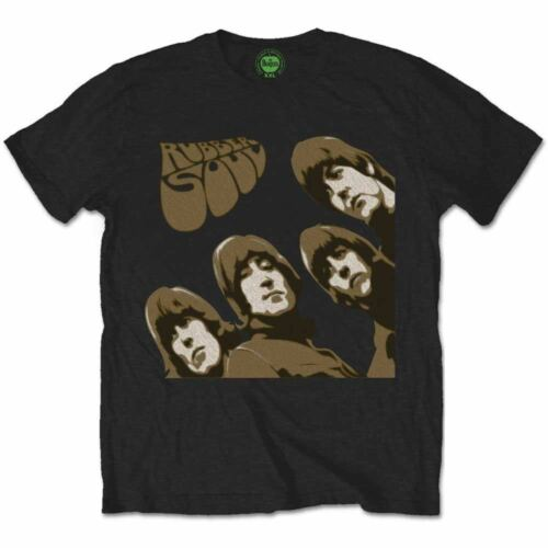 76a69e870 The Beatles T-Shirt Official Rubber Soul Sketch 100% Black Cotton Sizes MD -