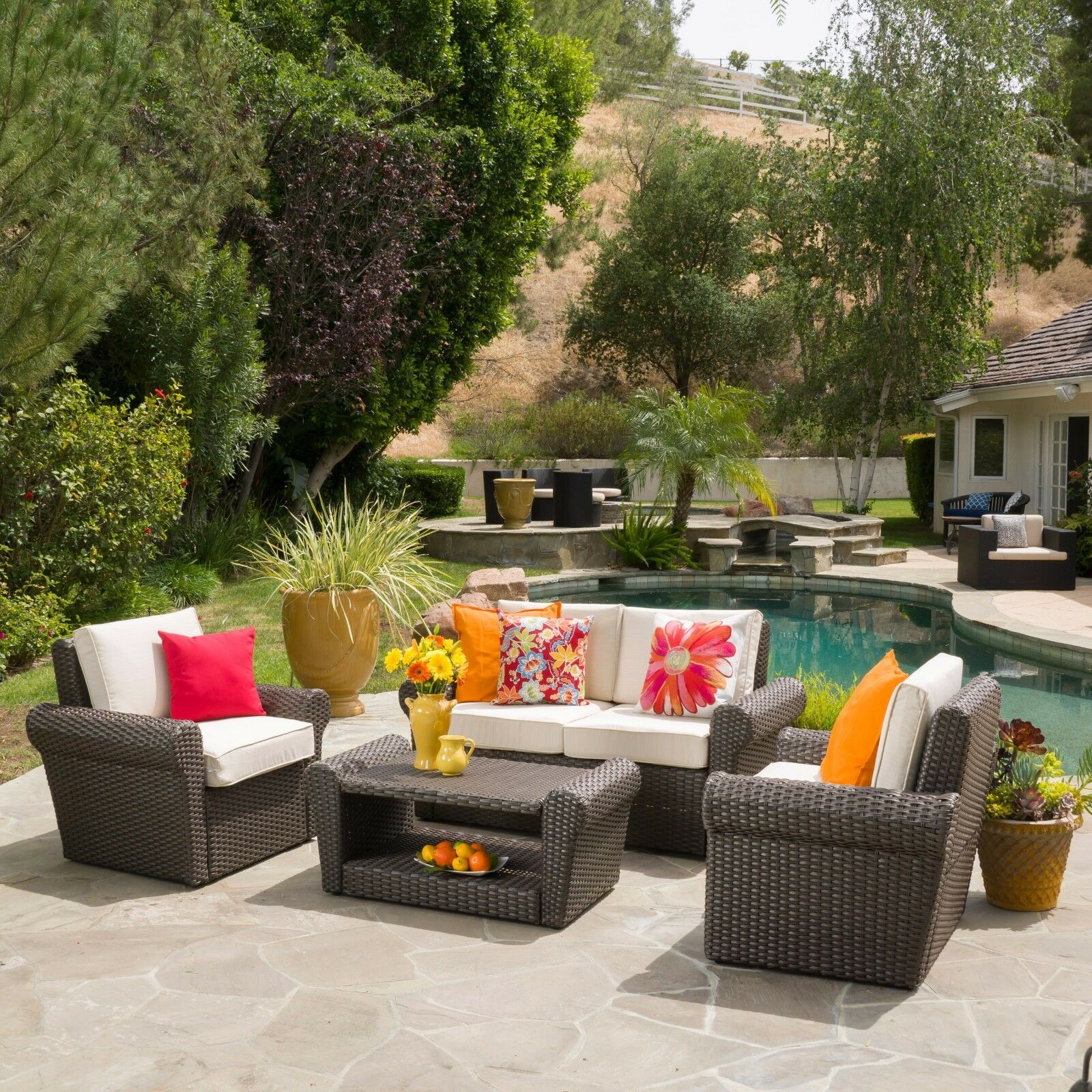 Patio Furniture Sets Clearance Outdoor 4 piece Wicker Chat Set