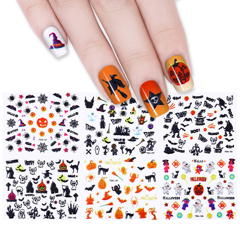 24 Sheets Halloween 3d Nail Art Stickers Manicure Adhesive Transfer
