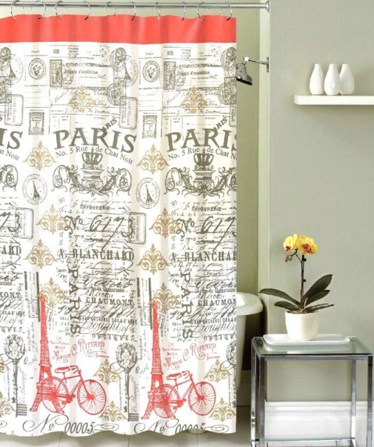 Antique Style Coral Grey White Eiffel Tower Toile Design Fabric Shower Curtain
