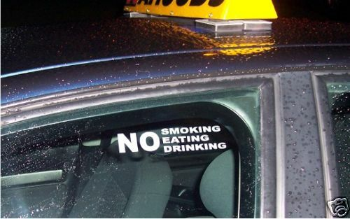 2 x no smoking eating drinking taxi bus car window signs decals stickers