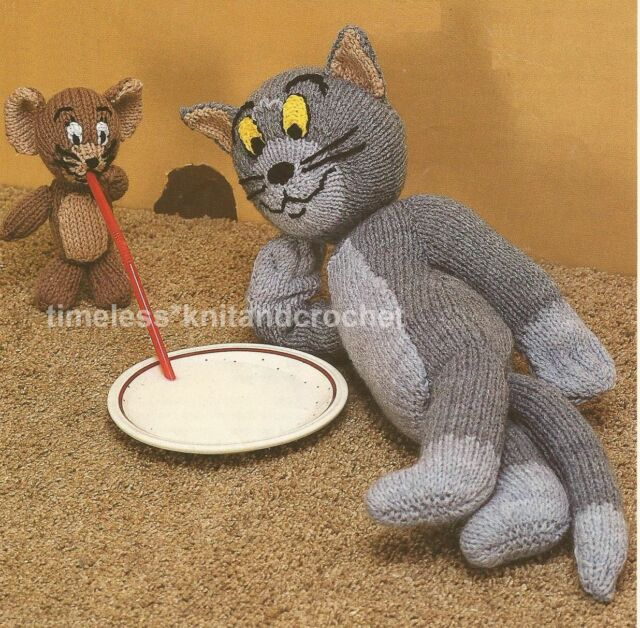 Vintage Toy Knitting Pattern For Tom And Jerry Cat Mouse Toys Ebay
