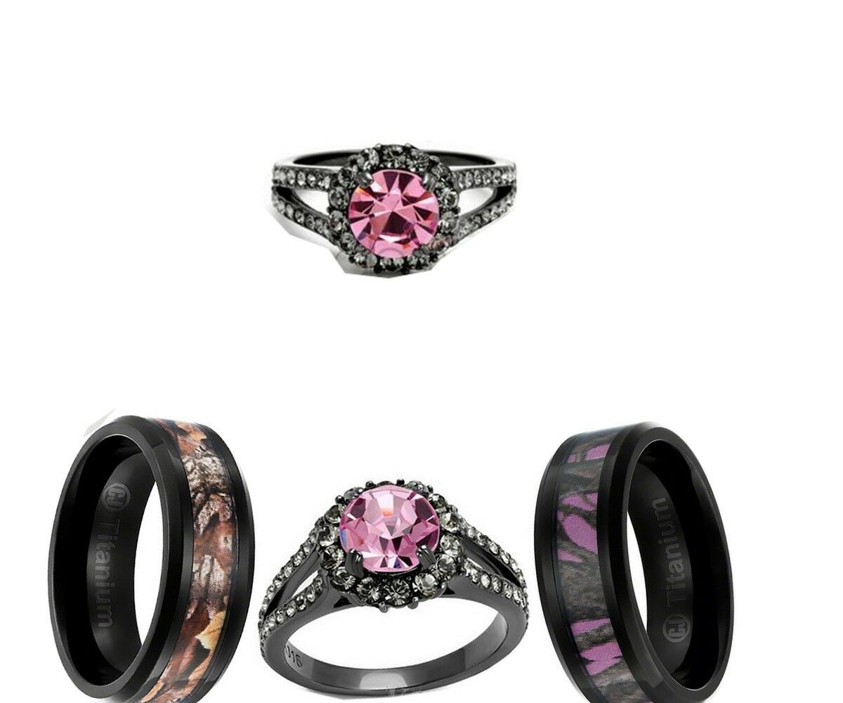 picture 1 of 2 - Black And Pink Wedding Ring Sets