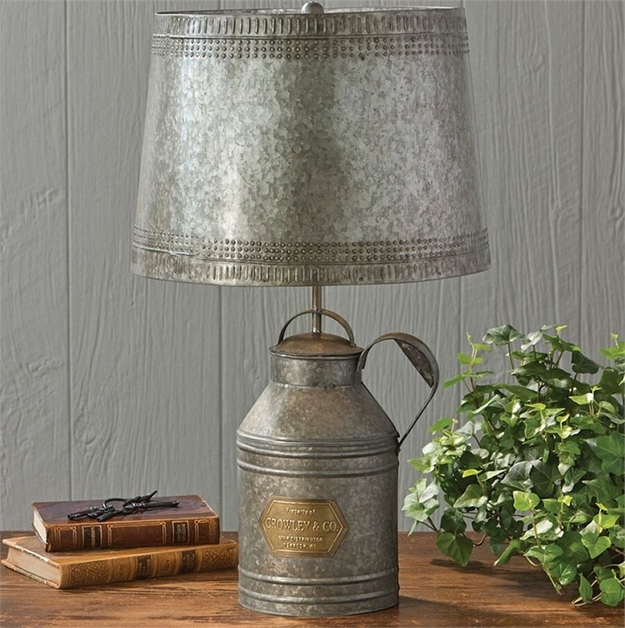 Vintage milk can lamp reproduction antique lamps tin shade rustic picture 1 of 1 geotapseo Choice Image