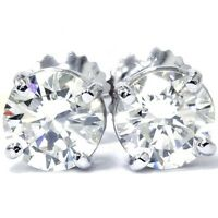 Pompeii3 Women's 1/2 Carat Natural Round Diamond 4-Prong 14K Stud Earrings (White Gold)