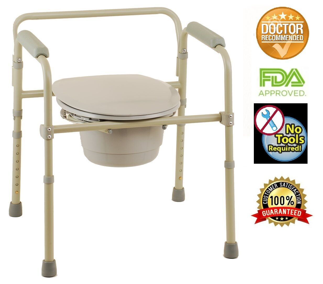 Adult Commode Chair Raised Over Toilet Seat Bedside Bathroom Potty ...