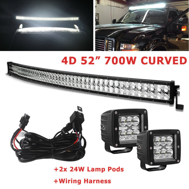 4d curved 52 500w led light bar 2x18w pod spot flood offroad work curved led light bar 52inch 700w combo2x 3 pods jeep 4x4 offroad mozeypictures Choice Image