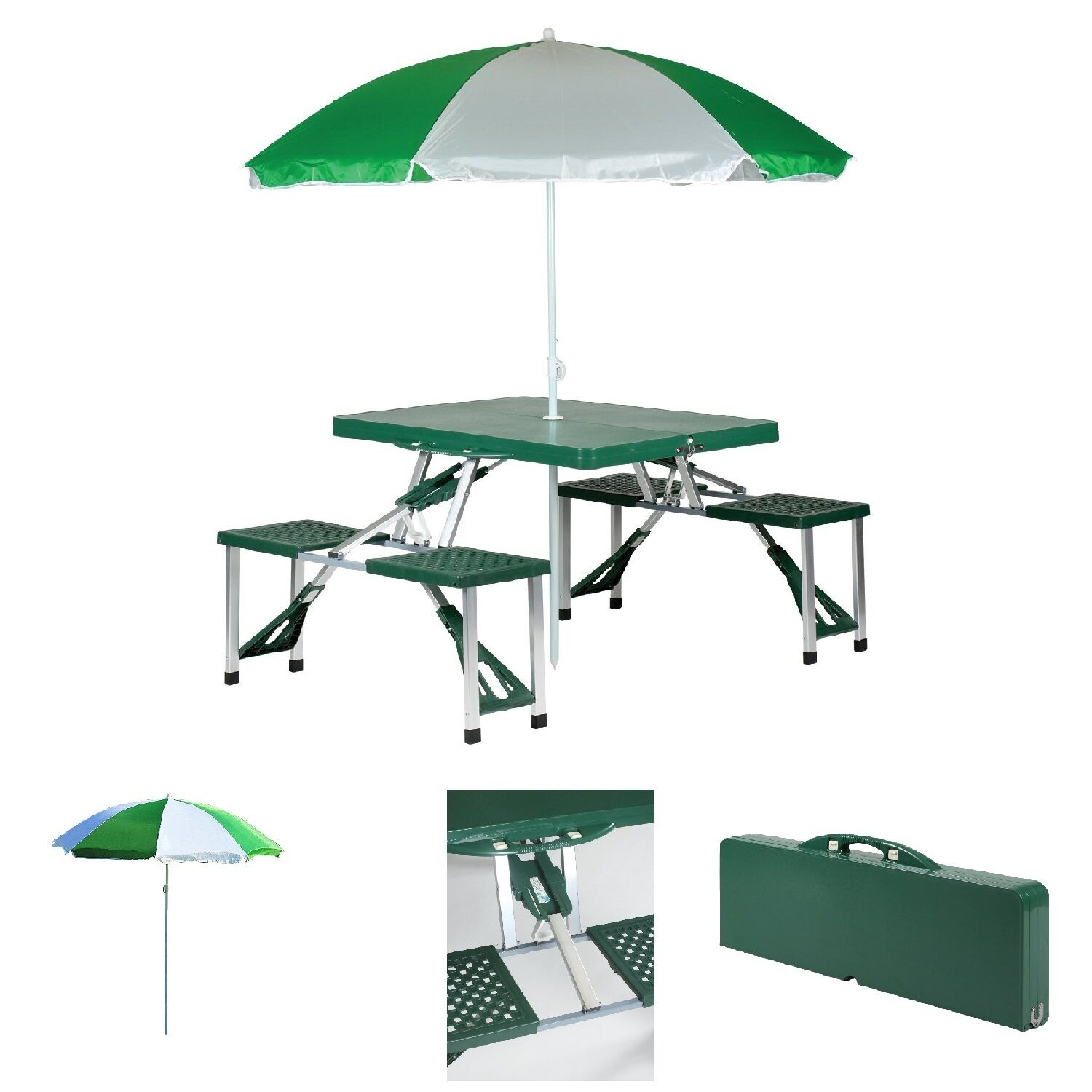 Picture 1 of 12 ...  sc 1 st  eBay & Picnic Table Set Folding Portable Umbrella Beach 4 Seat Outdoor ...