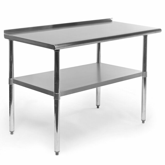 Stainless Steel Kitchen Work Table W Backsplash Shelf Counter Top  Restaurant Bar