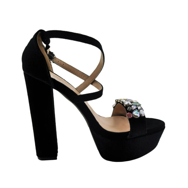 Qupid Beat 100 Black Women's Strappy Gem Embellished Open Toe Heel