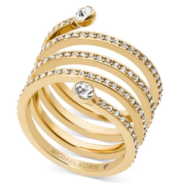 Michael Kors Mkj4722 Park Avenue Gold Pave Spiral Coil Wrap Ring Mkj4722710