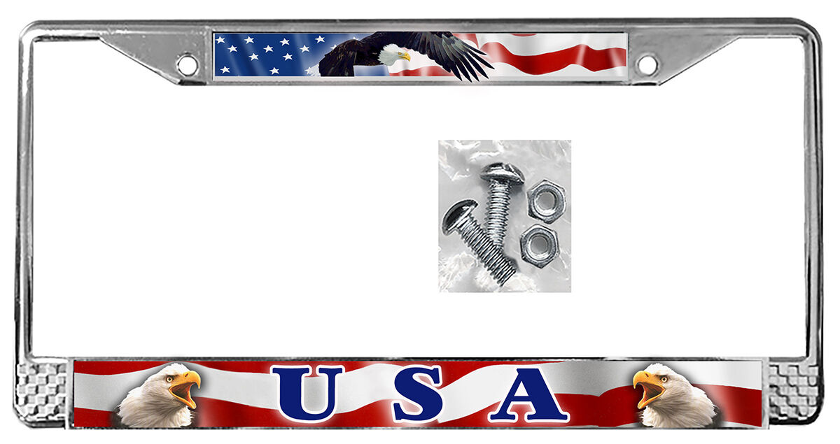 USA Flag Eagles License Plate Frame Gifts American Patriotic Metal ...