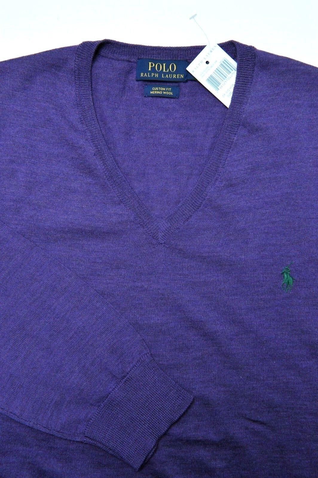 Polo Ralph Lauren Mens Custom Merino Wool V-neck Pullover Sweater ...