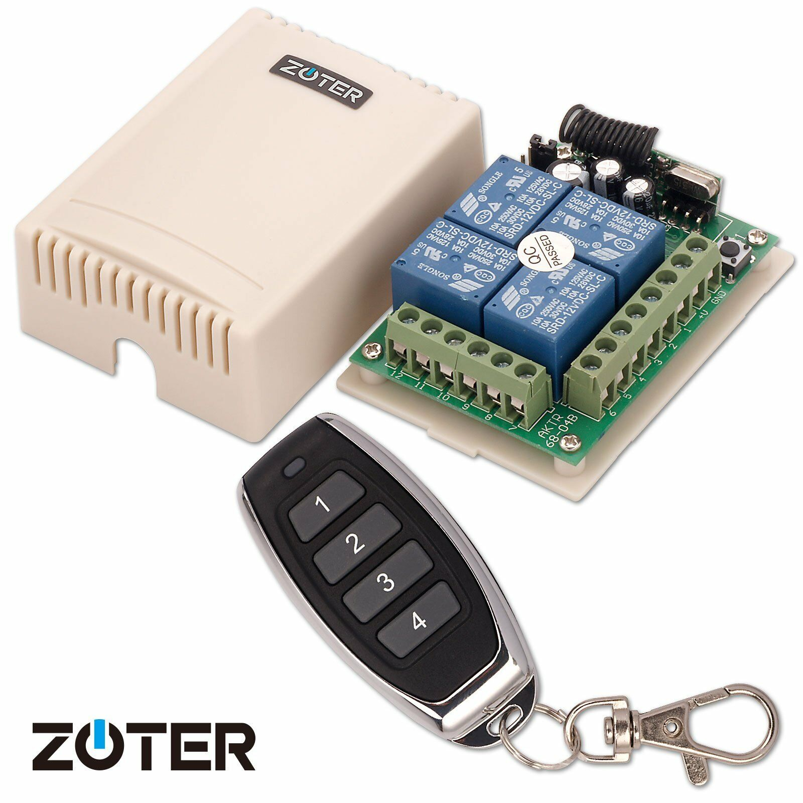 Zoter Universal Dc 12v 4 Channels 4ch Wireless 315mhz Remote Control