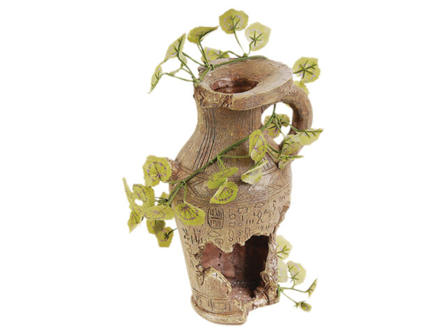 Pot with Silk Plant Reptile Terrarium Vivarium Ornament Decoration