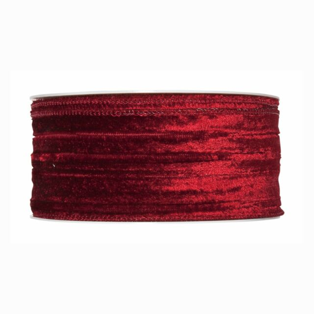 Wine Red Christmas Crushed Velvet Fabric Ribbon 2 Wide X 32ft Roll Wired Edges