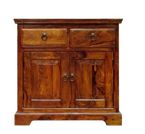 Solid Sheesham Wood Small Compact Sideboard Cupboard Cabinet