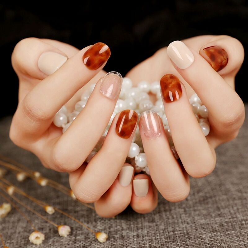 Shiny Leopard Marble Flase Full Nails Beige White Nail Tips Short ...